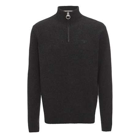 Barbour Essential Lambswool Half Zip Jumper Charcoal Barbour Lifestyle: from the Classic capsule