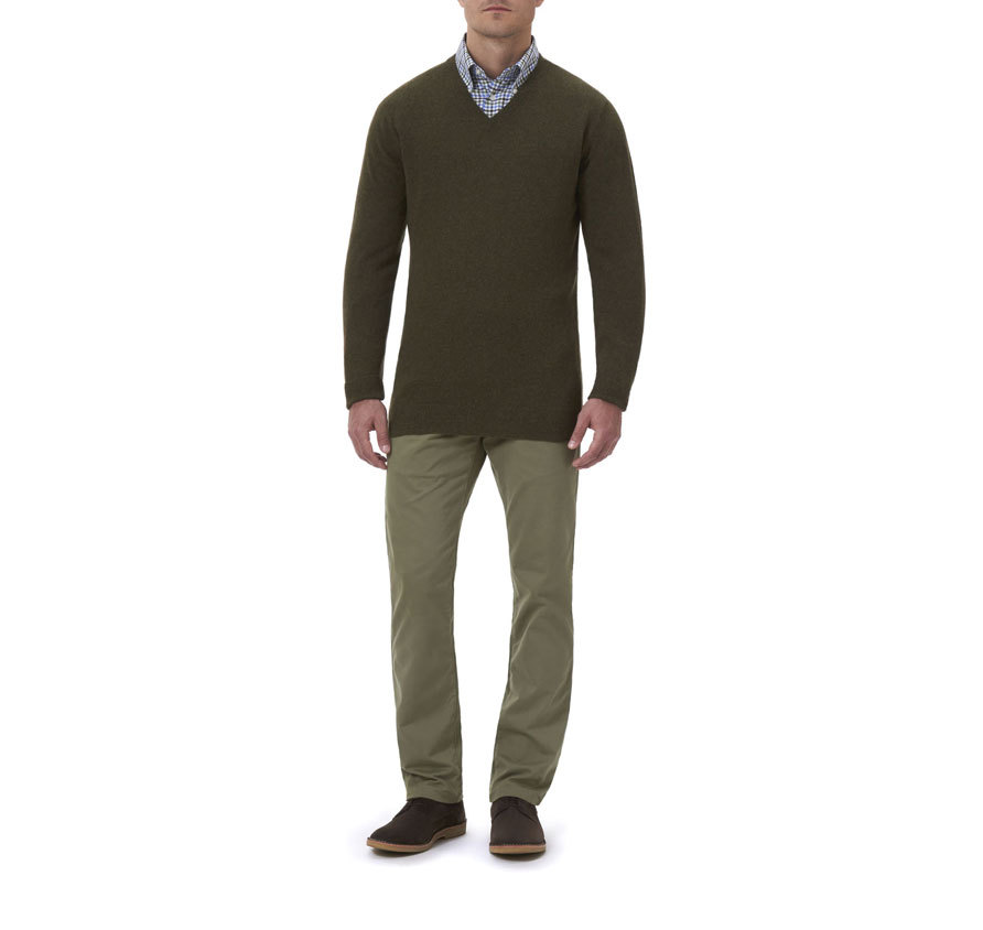 Barbour Essential Lambswool V Neck Sweater Seaweed