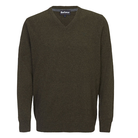 Barbour Barbour Essential Lambswool V Neck Sweater Seaweed Barbour Lifestyle: from the Classic capsule