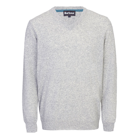 Barbour Essential Lambswool V Neck Sweater Grey Marl Barbour Lifestyle: from the Classic capsule