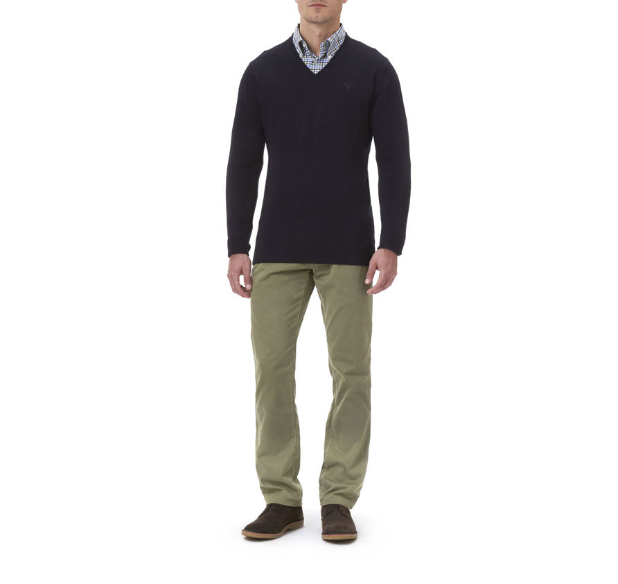Barbour Essential Lambswool V Neck Sweater Navy