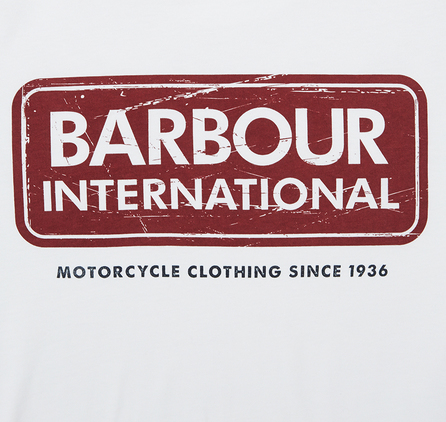 Barbour International Logo Tee White Barbour International: From the Garage Essentials collection