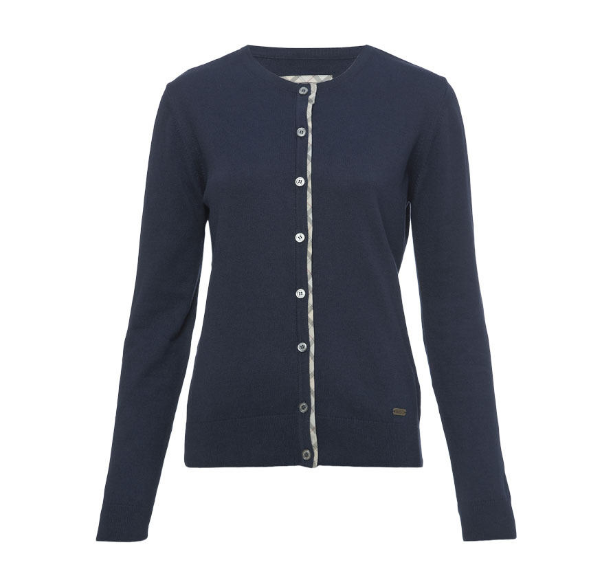 Barbour Hamerley Cropped Cardigan Navy Barbour Lifestyle: From the Dress Tartan capsule