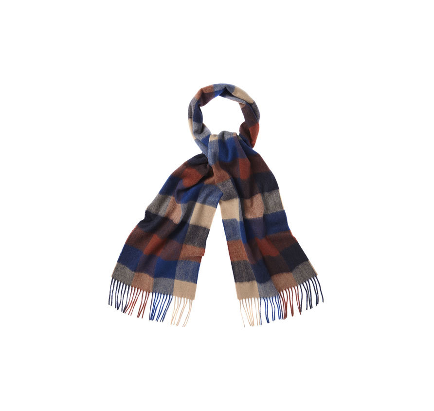 Barbour Large Tattersall Linen Wool Scarf Navy Barbour Lifestyle: from the Classic Collection