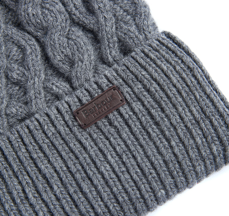 Barbour Cable Knit Beanie Grey