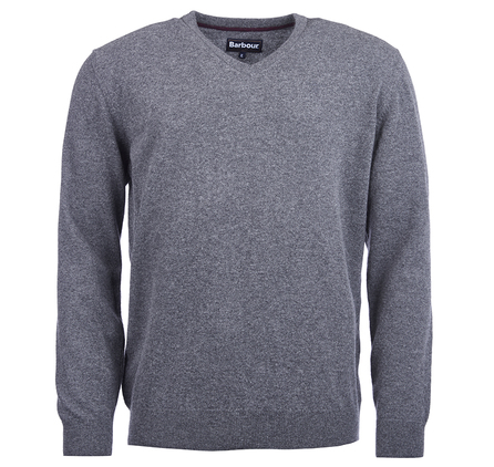 Barbour Essential Lambswool V Neck Sweater Storm Grey Barbour Lifestyle: from the Classic capsule
