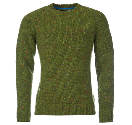 Barbour Netherby Crew Jumper Green Barbour Heritage: From the Homespun Tweeds collection