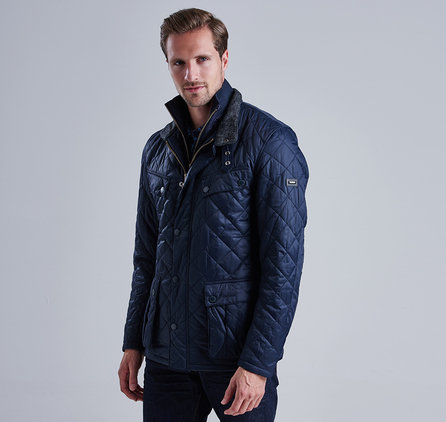 Barbour Windshield Tailored Fit Quilted Jacket Navy Barbour International: From the Winter Biker collection