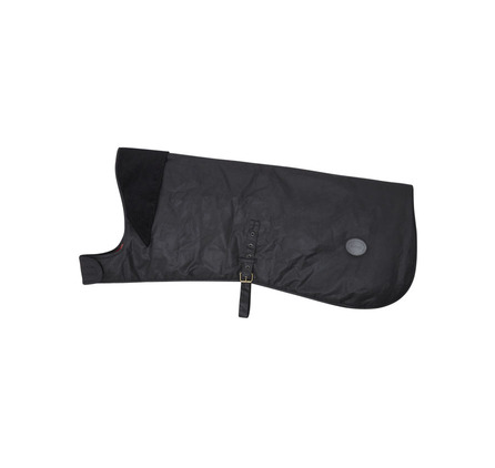 Waxed Cotton Dog Coat Black Abrigo encerado ideal para los paseos con lluvia