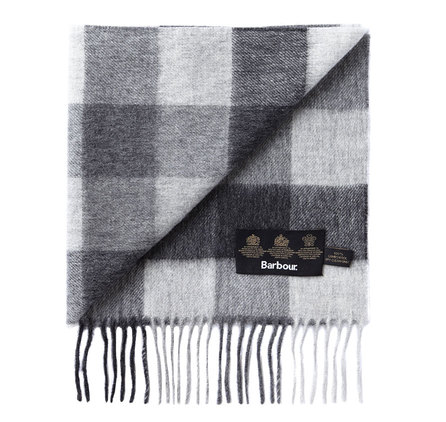 Barbour Large Tattersall Linen Wool Scarf Charcoal