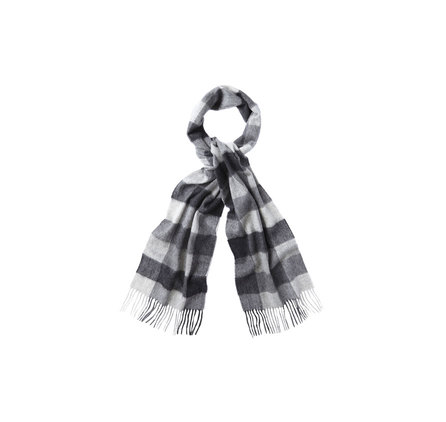 Barbour Large Tattersall Linen Wool Scarf Charcoal Barbour Lifestyle: from the Classic Collection