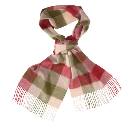 Barbour Large Tattersall Linen Wool Scarf Olive Barbour Lifestyle: from the Classic Collection