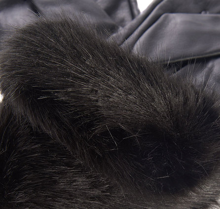 Barbour Fur Trimmed Leather Gloves Black