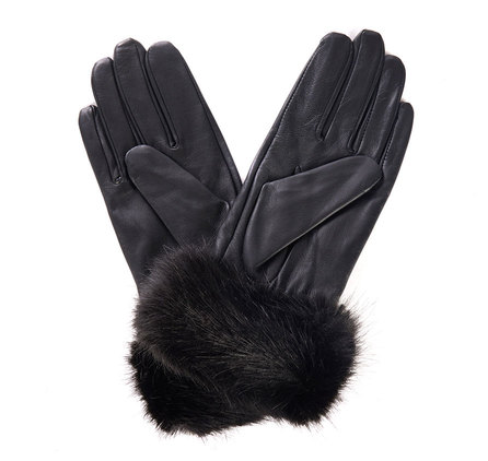 Barbour Barbour Fur Trimmed Leather Gloves Black Barbour Lifestyle: From the Classic collection