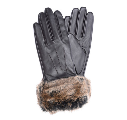 Barbour Fur Trimmed Leather Gloves Brown Barbour Lifestyle: From the Classic collection