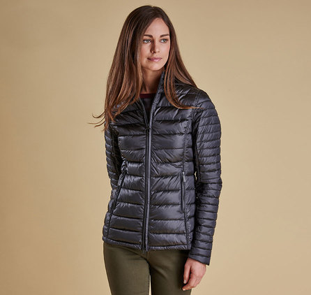 Barbour Clyde Short Baffle Quilted Jacket Ash Grey
