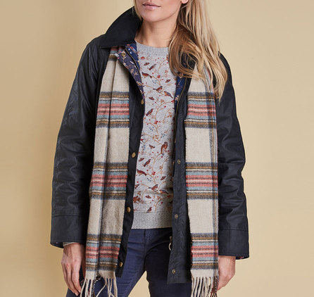 Barbour Country Check Scarf Cream