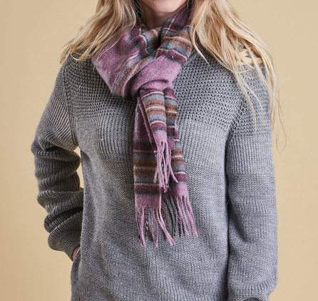 Barbour Country Check Scarf Pink