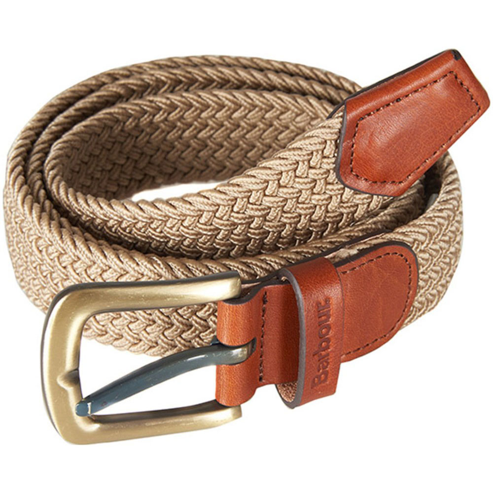 Barbour Barbour Stretch Webbing Leather Belt Stone Barbour Lifestyle: from the Classic capsule