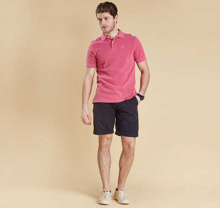 Barbour Washed Sports Polo Shirt Fucshia