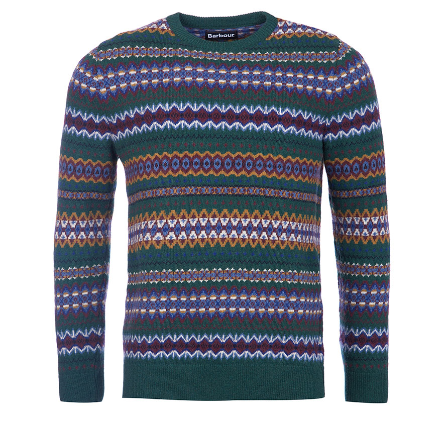Barbour Case Fairisle Crew Neck Jumper Grey Barbour Lifestyle: From the Classic Tartan collection