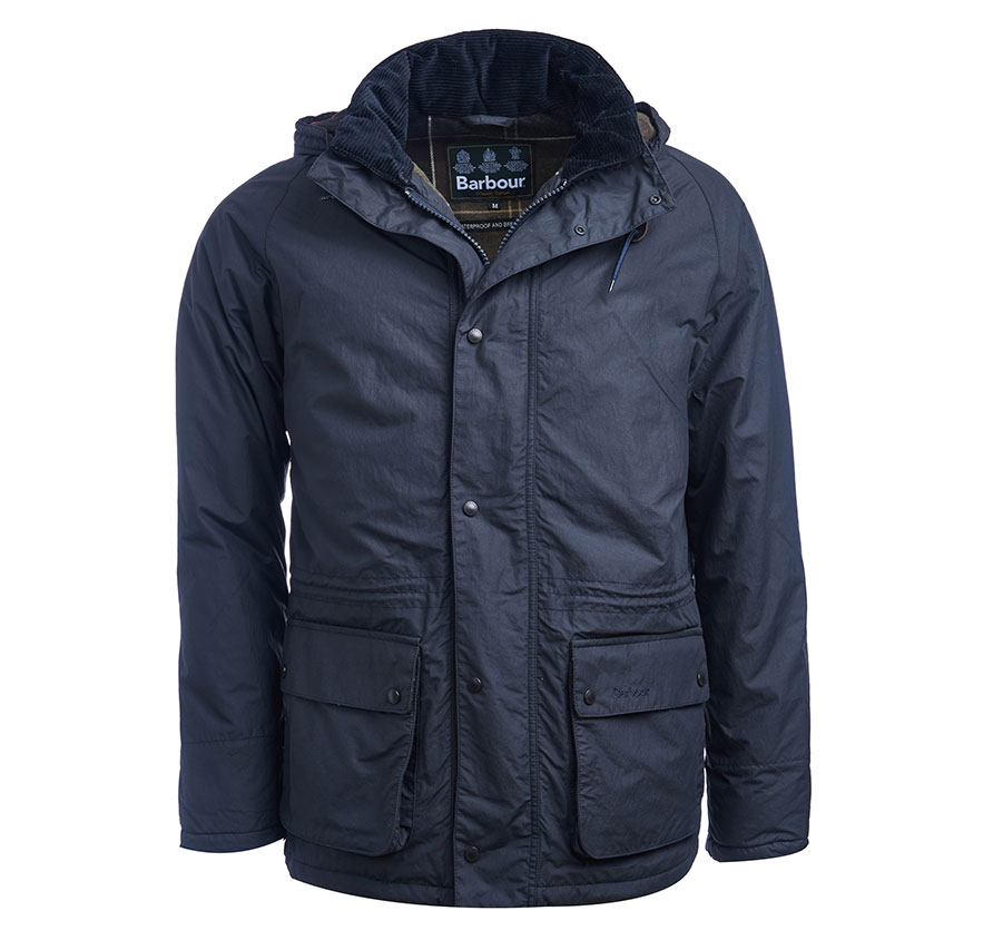 Barbour Hooded Woodfold Jacket Navy Barbour Heritage: From the Ancient Tartan collection