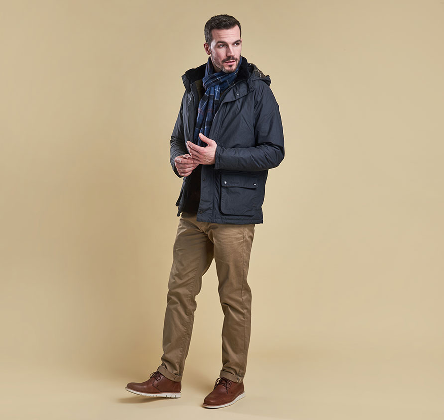 Barbour Hooded Woodfold Jacket Navy