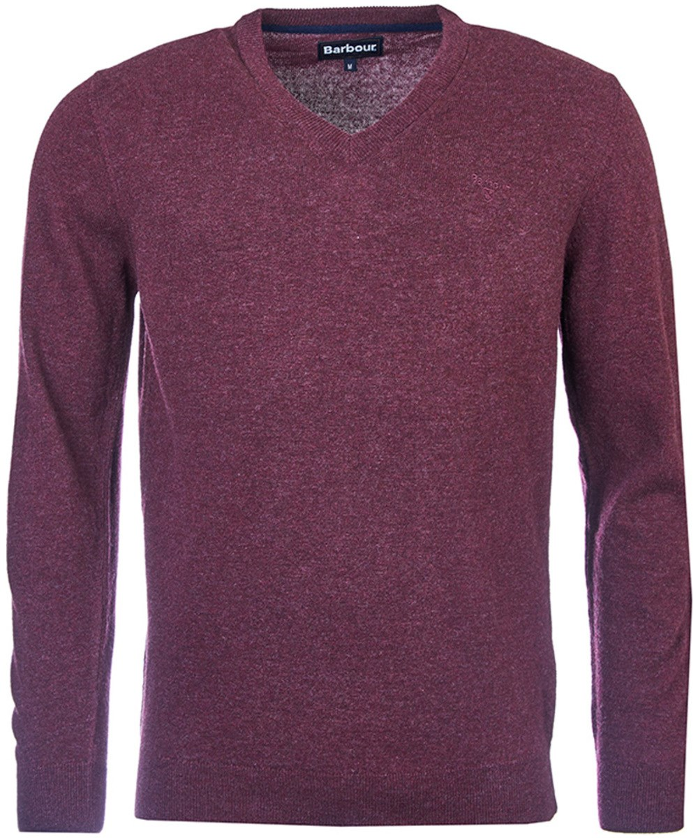 Barbour Essential Lambswool V Neck Sweater Merlot