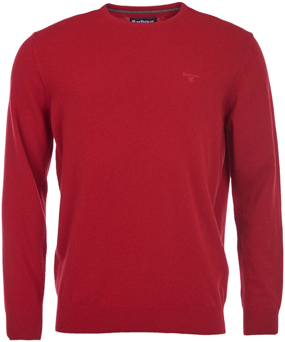 Barbour Essential Lambswool Crew Sweater Rich red Barbour Lifestyle: from the Classic capsule
