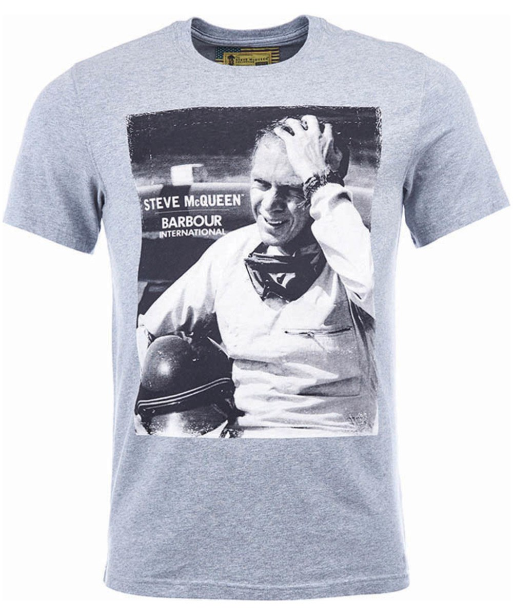 Barbour Close Up Tee Grey Marl Barbour Steve McQueen Collection