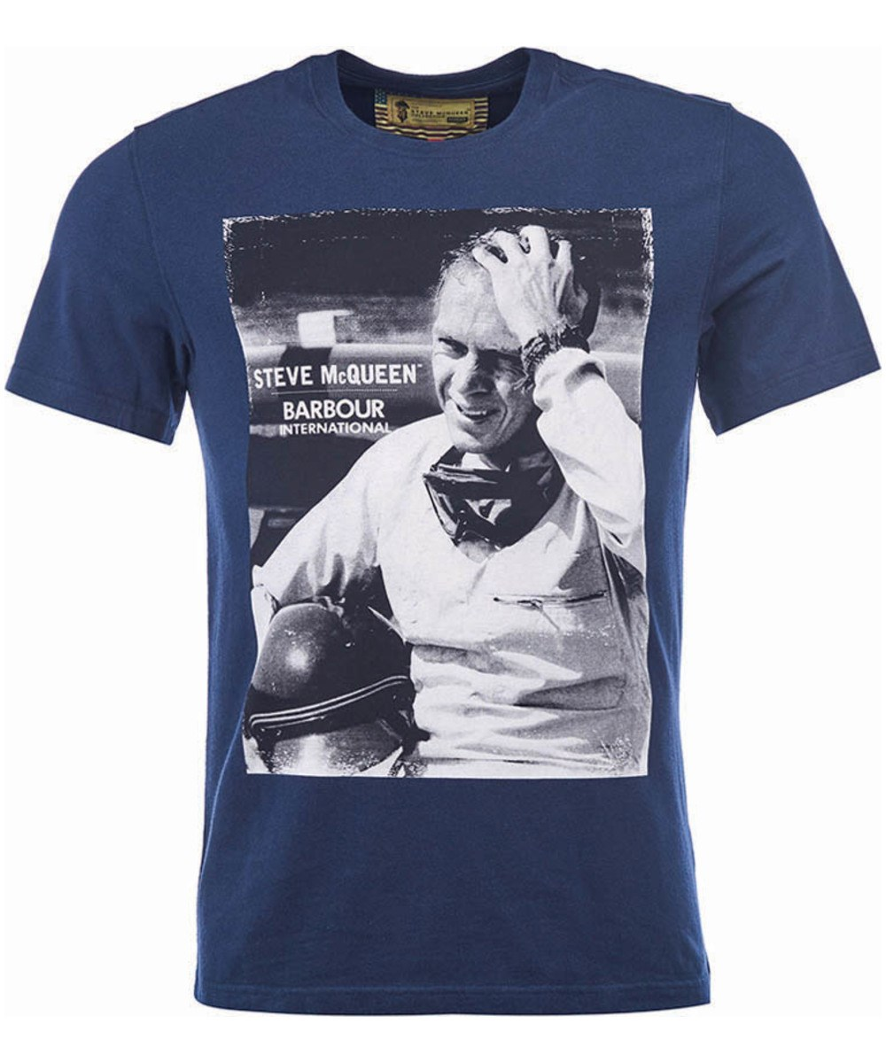 Barbour Close Up Tee Navy Barbour Steve McQueen Collection