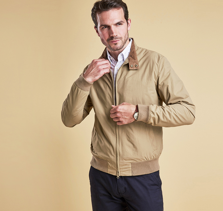 Barbour Royston Harrington Style Jacket Sandstone
