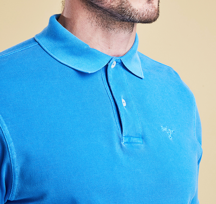 Barbour Washed Sports Polo Shirt French Blue