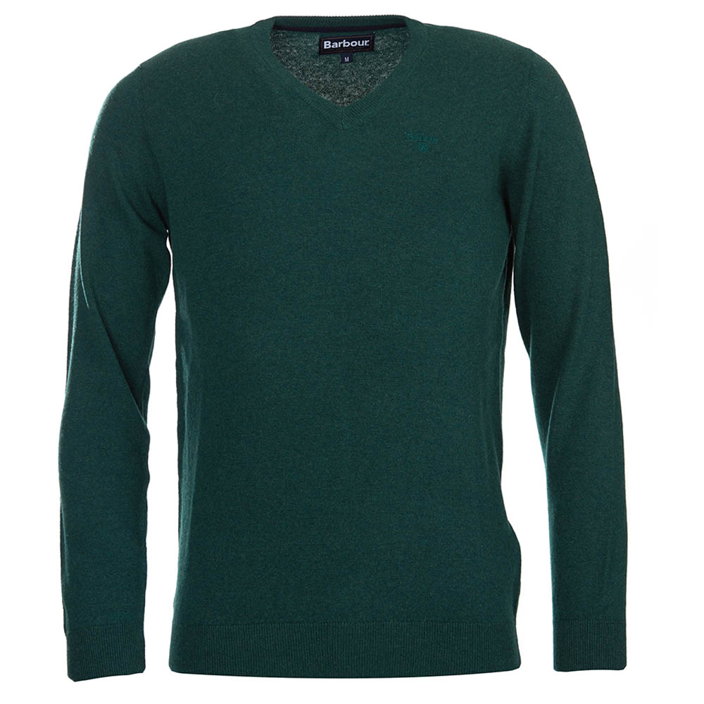 Barbour Essential Lambswool V Neck Sweater Bottle Green Barbour Lifestyle: from the Classic capsule