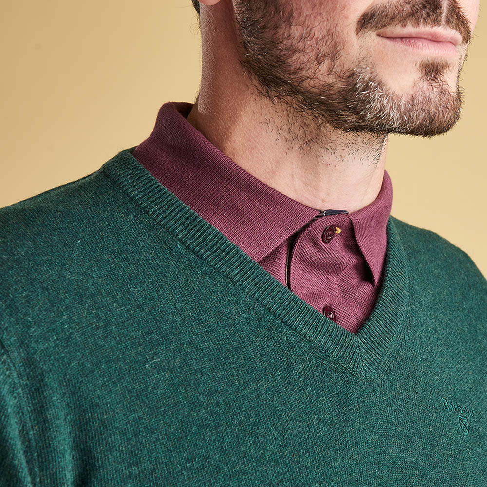 Barbour Essential Lambswool V Neck Sweater Bottle Green
