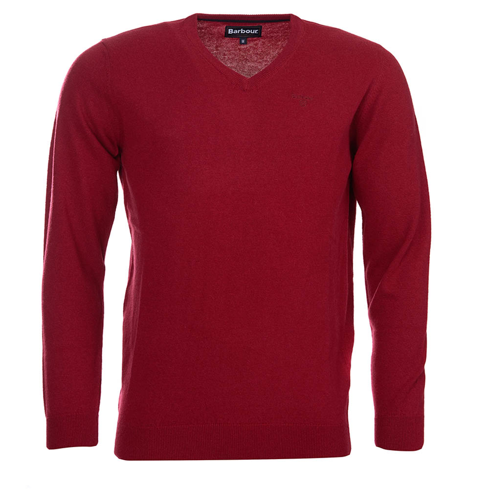 Barbour Barbour Essential Lambswool V Neck Sweater Biking Red Barbour Lifestyle: from the Classic capsule