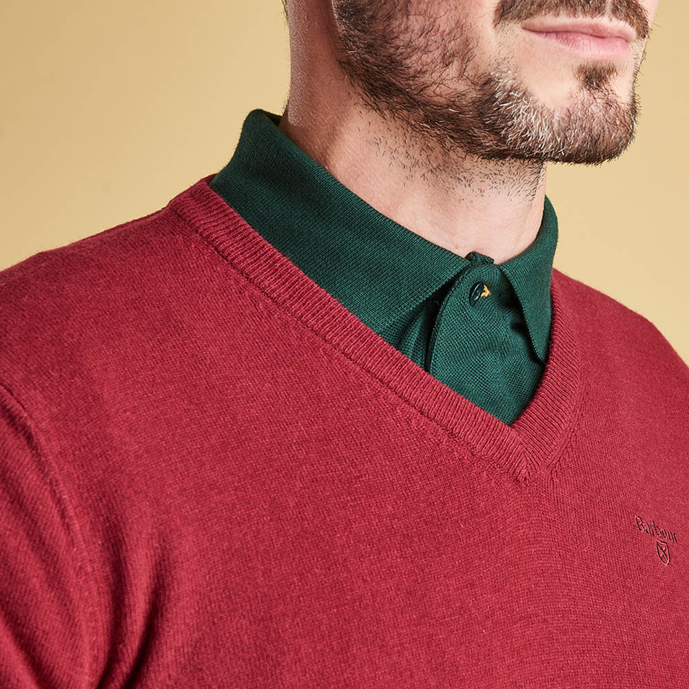 Barbour Essential Lambswool V Neck Sweater Biking Red