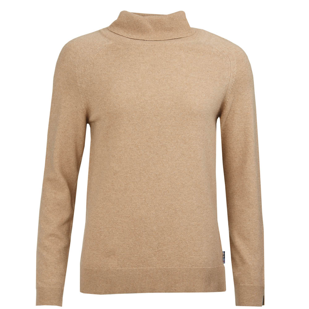 Barbour Pendle Roll Collar Sweater Camel