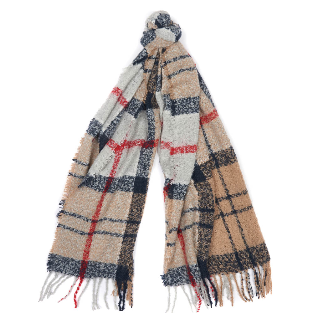 Barbour Tartan Boucle Scarf Winter Caramel
