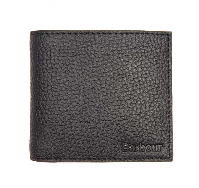Barbour Grain Leather Billfold Wallet In Gift Box Black Barbour International