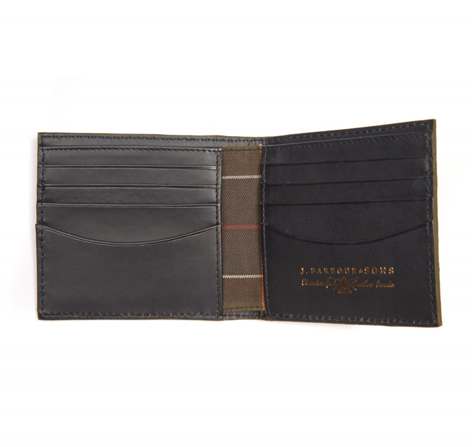 Barbour Grain Leather Billfold Wallet In Gift Box Black