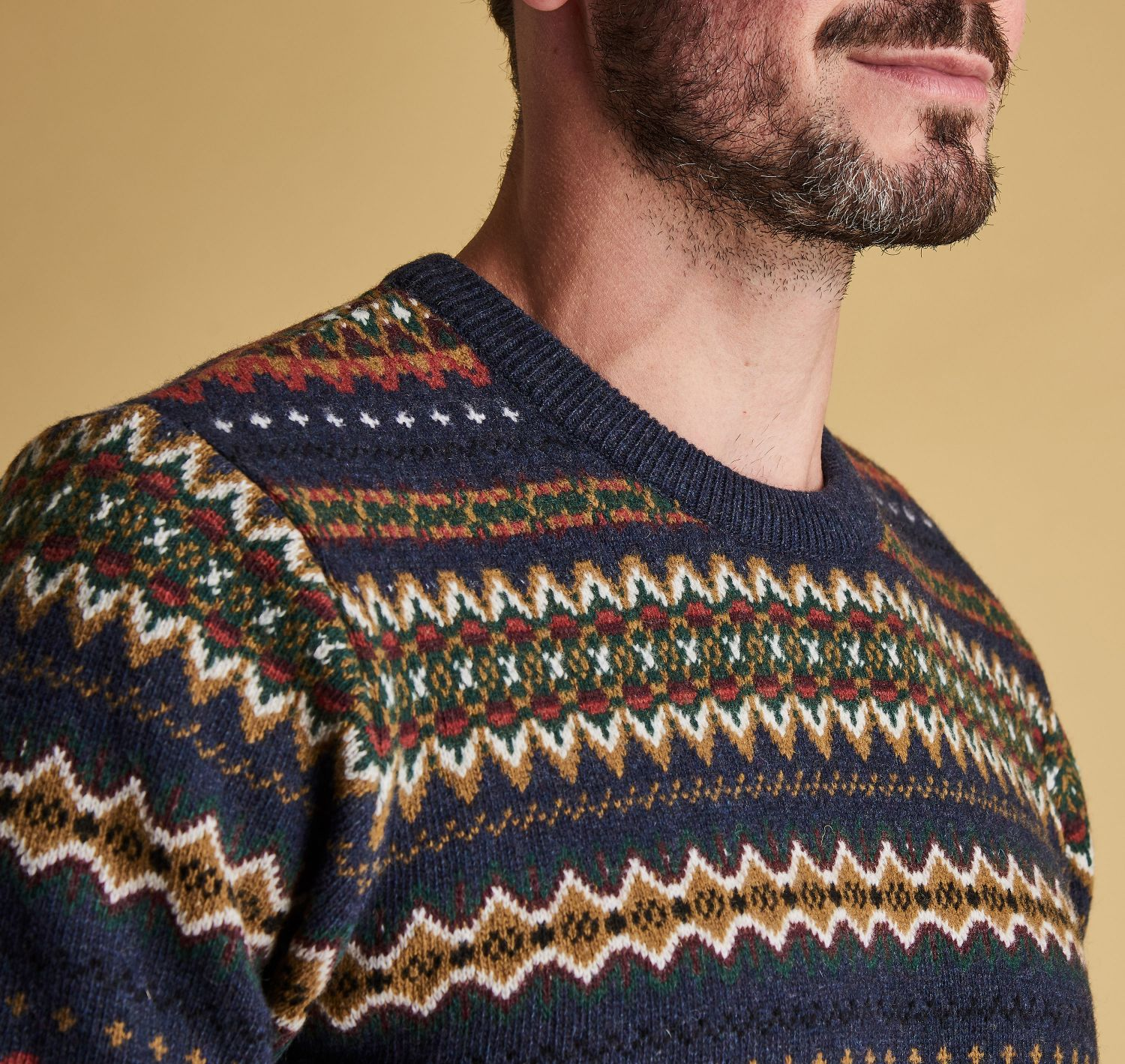 Barbour Case Fairisle Crew Neck Jumper Navy