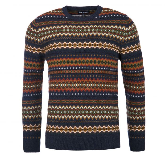 Barbour Case Fairisle Crew Neck Jumper Navy Barbour Lifestyle: From the Classic Tartan collection