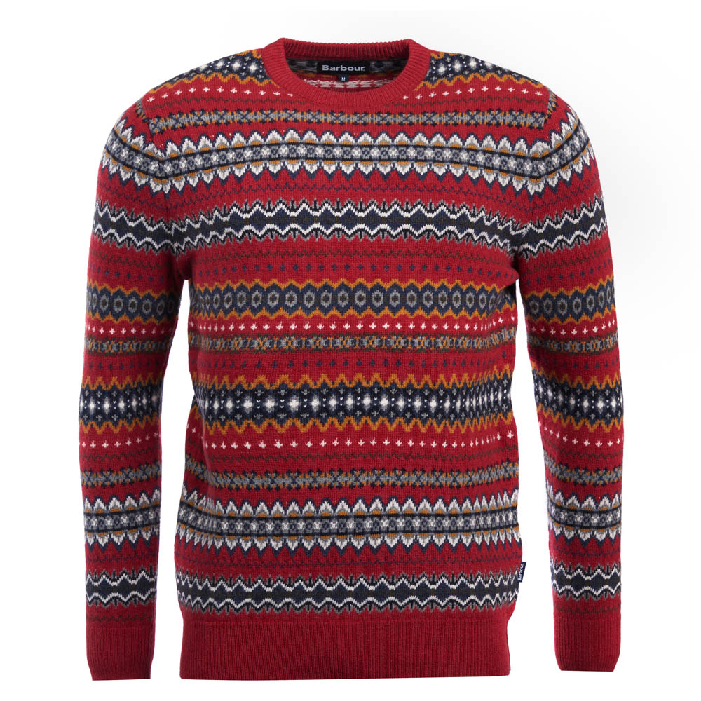Barbour Case Fairisle Crew Neck Jumper Red Barbour Lifestyle: From the Classic Tartan collection