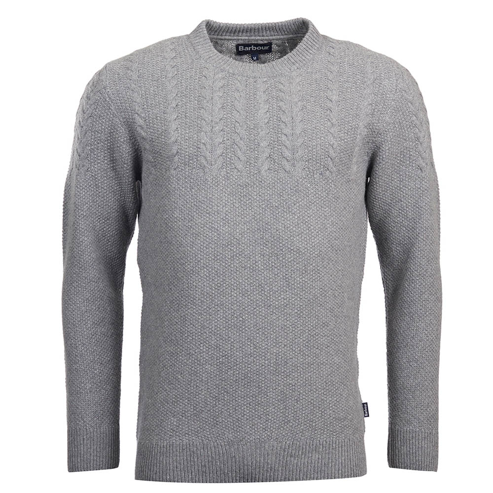 Barbour Crastill Cable Crew Neck Sweater Grey Barbour Lifestyle: from the Classic capsule