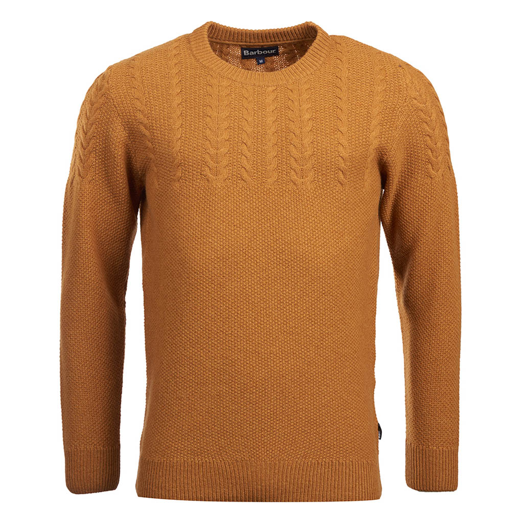 Barbour Crastill Cable Crew Neck Sweater Mustard Barbour Lifestyle: from the Classic capsule