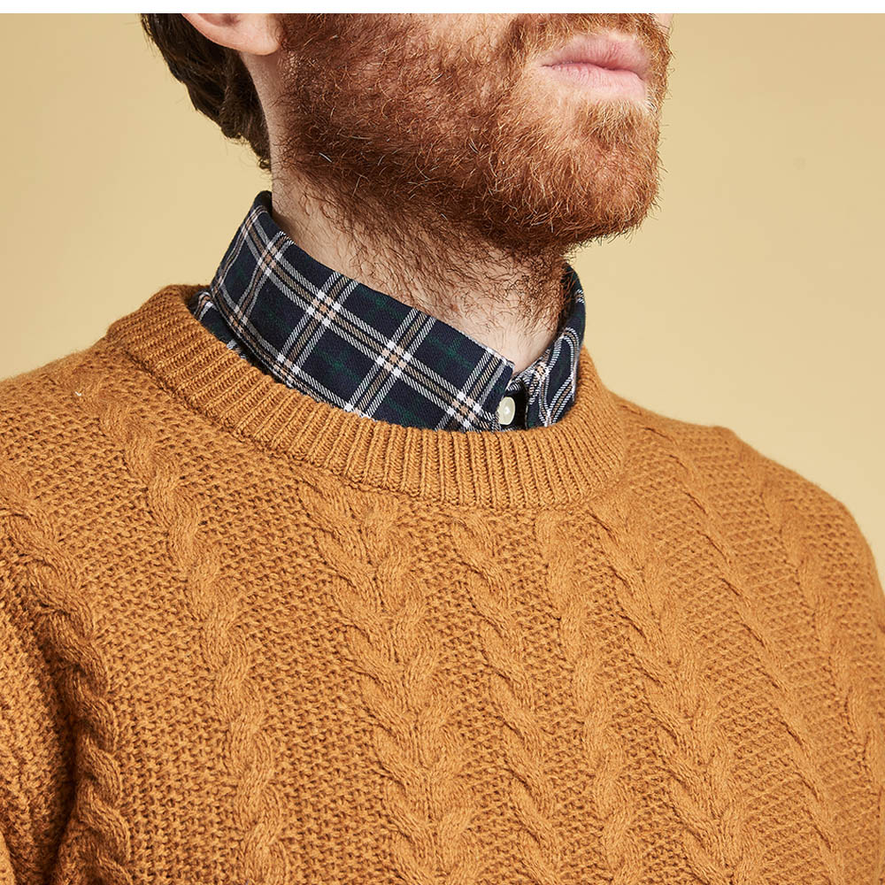 Barbour Crastill Cable Crew Neck Sweater Mustard