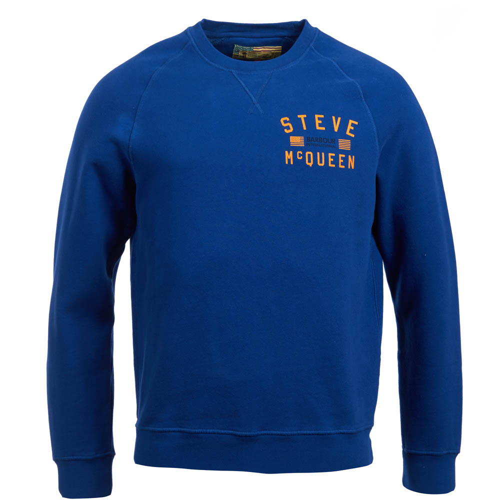 Barbour Voxan Crew Neck Sweater Blue Barbour International: from the Steve McQueen Collection