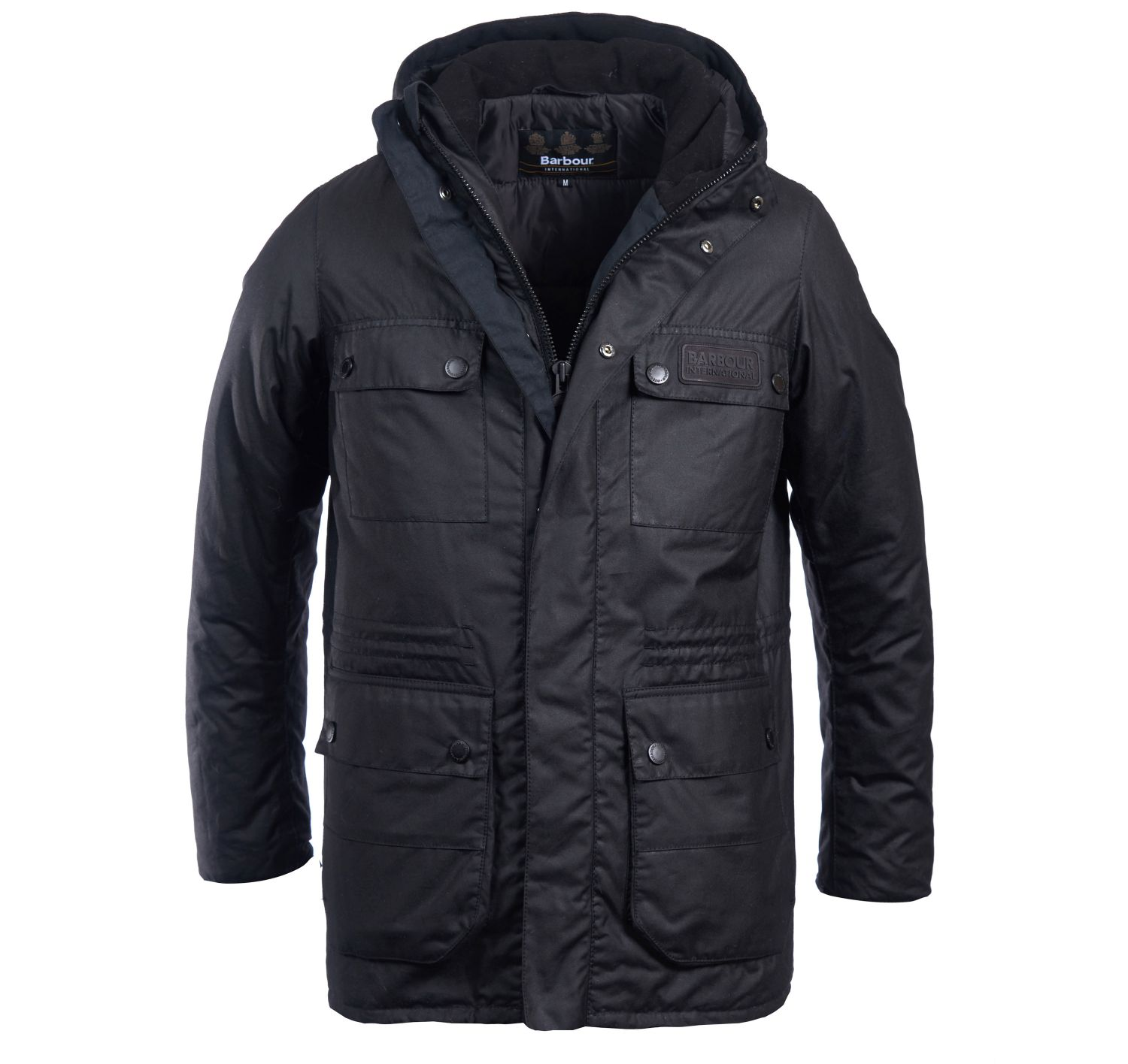 Barbour Intl Imboard Waxed Cotton Jacket Black Barbour International