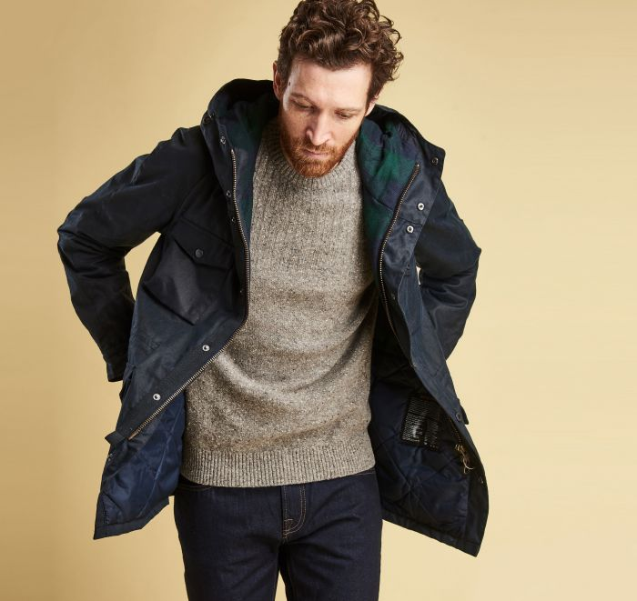 Barbour Coll Waxed Cotton Jacket Navy